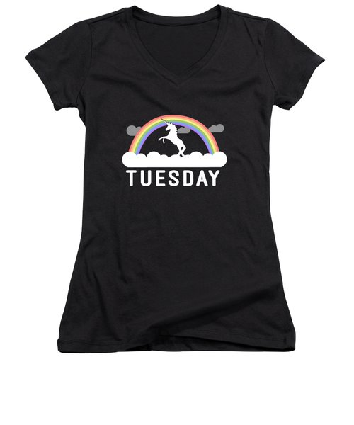 Women's V-Neck featuring the digital art Tuesday by Flippin Sweet Gear