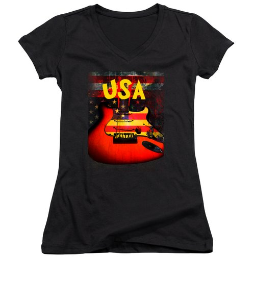 Usa Flag Guitar Purple Stars And Bars Women's V-Neck