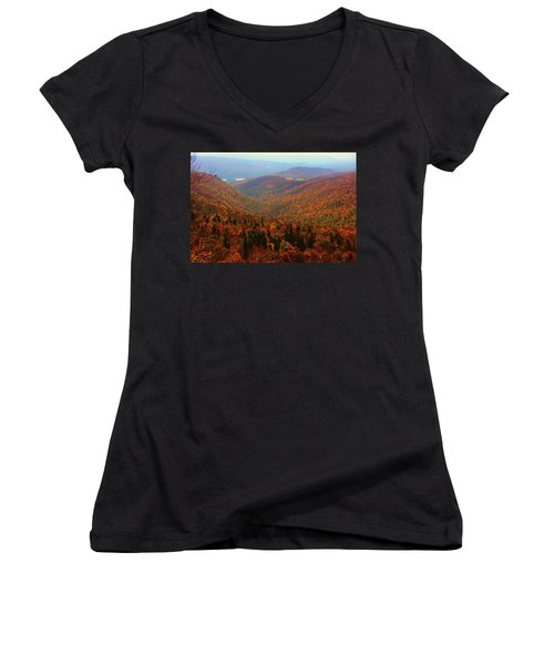 Women's V-Neck (Athletic Fit) featuring the photograph Valley Below Mount Greylock by Raymond Salani III