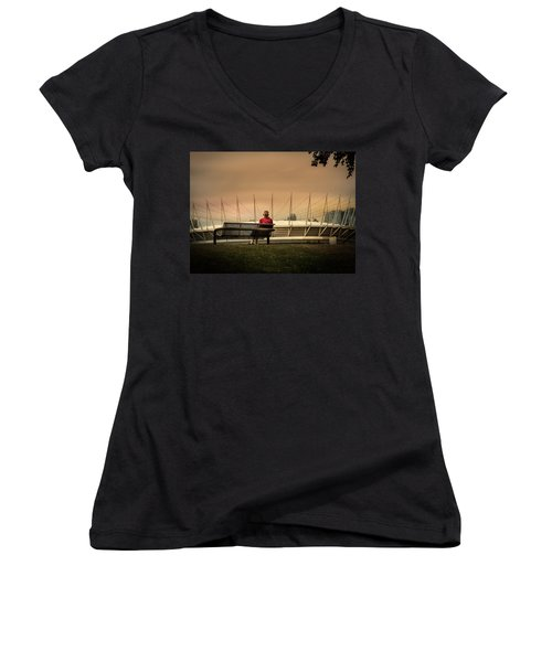 Vancouver Stadium In A Golden Hour Women's V-Neck