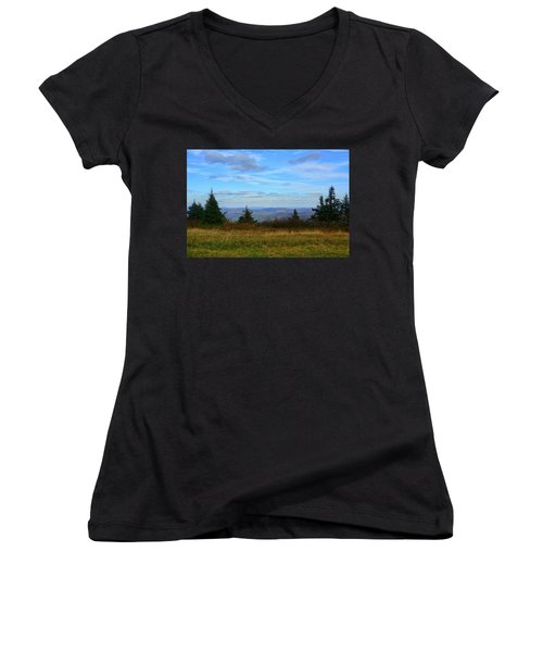 Women's V-Neck (Athletic Fit) featuring the photograph Vermont From The Summit Of Mount Greylock by Raymond Salani III