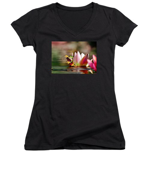 Water Lily And Frog Women's V-Neck
