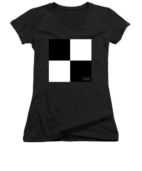 White And Black Squares - Ddh586 Women's V-Neck