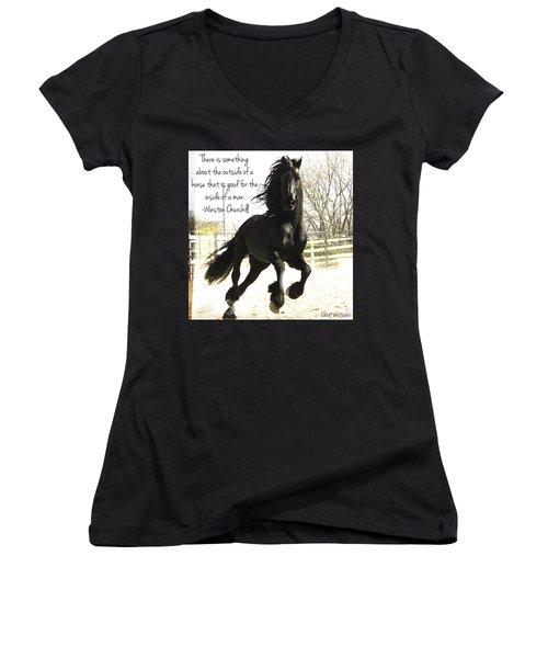 Winston Churchill Horse Quote Women's V-Neck