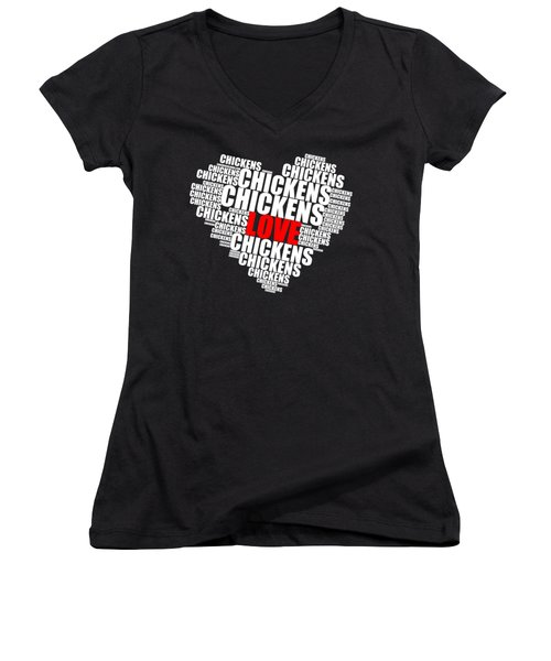Word Cloud White Love Chickens Women's V-Neck