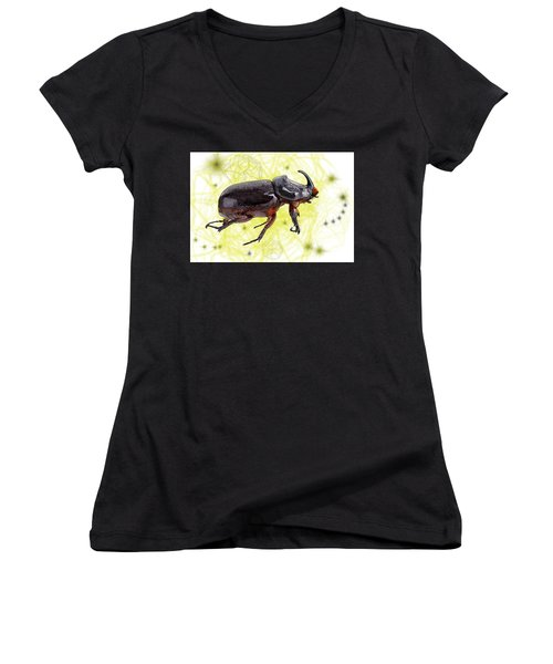 X Is For Xylotrupes Ulysses  Aka Rhinoceros Beetle Women's V-Neck (Athletic Fit)