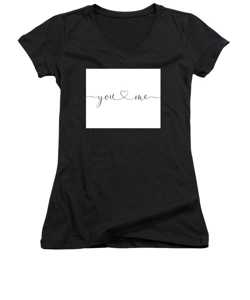 You And Me Black And White Women's V-Neck
