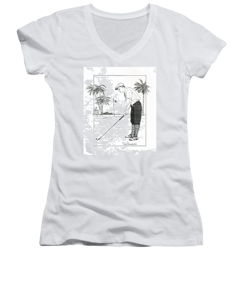 Women's V-Neck T-Shirt (Junior Cut) featuring the drawing  1920's Vintage Golfer by Ira Shander