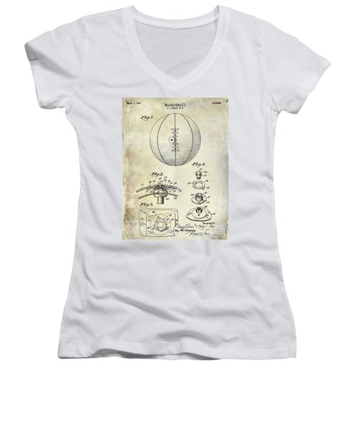 1927 Basketball Patent Drawing Women's V-Neck T-Shirt