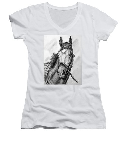 Women's V-Neck T-Shirt (Junior Cut) featuring the drawing  Barbaro by Patrice Torrillo