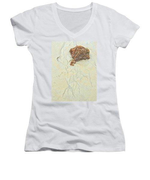 Beach Sand  2 Women's V-Neck T-Shirt (Junior Cut) by Marcia Lee Jones