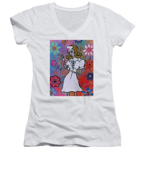 Dia De Los Muertos Nurse Women's V-Neck