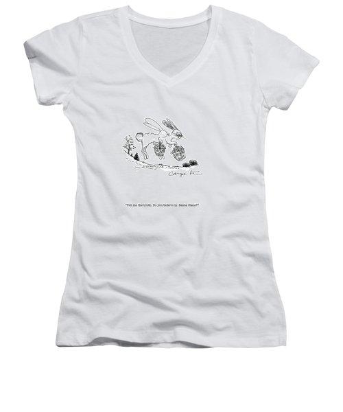 Easter Bunny Truth  Women's V-Neck T-Shirt