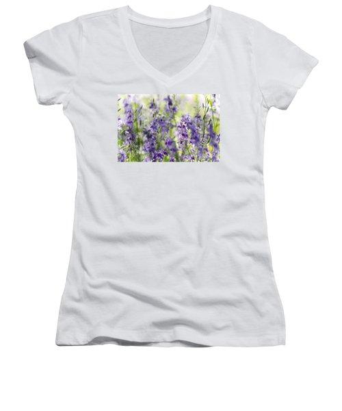 Fields Of Lavender  Women's V-Neck T-Shirt (Junior Cut) by Saija  Lehtonen