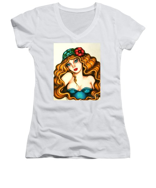 Flower Hat Women's V-Neck T-Shirt
