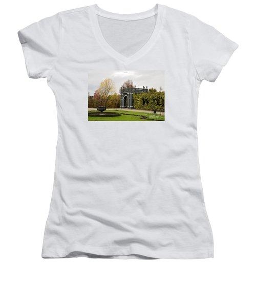 Women's V-Neck T-Shirt (Junior Cut) featuring the photograph  Garden Gate Schonbrunn Palace Vienna Austria by Imran Ahmed