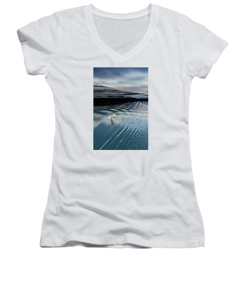 Journey With A Sea Gull Women's V-Neck T-Shirt (Junior Cut) by Gary Warnimont