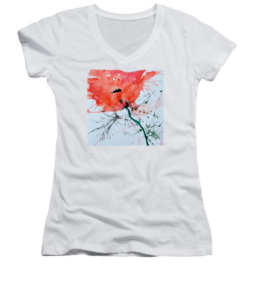 Women's V-Neck T-Shirt (Junior Cut) featuring the painting  Lonely Poppy by Ismeta Gruenwald