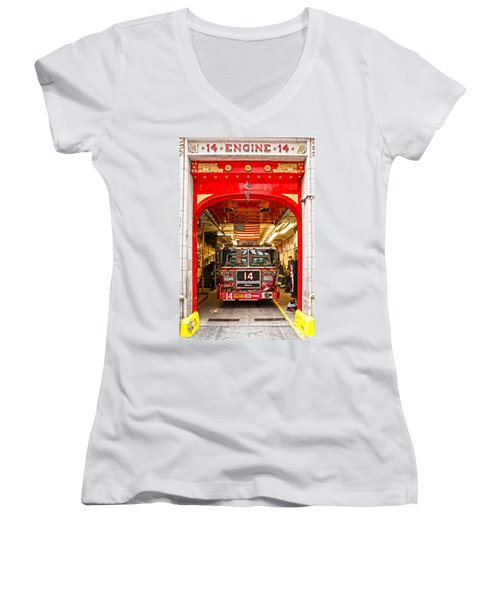 New York Fire Department Engine 14 Women's V-Neck T-Shirt