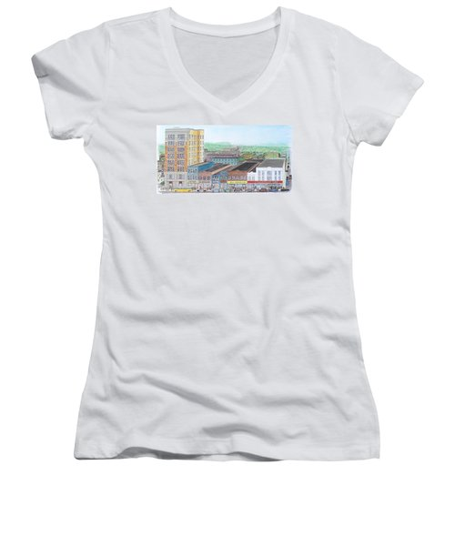 Portsmouth Ohio Dime Store Row 4th To 5th Women's V-Neck T-Shirt (Junior Cut) by Frank Hunter