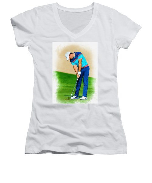 Rory Mcilroy Plays His Second Shot On The Par 4 Women's V-Neck T-Shirt