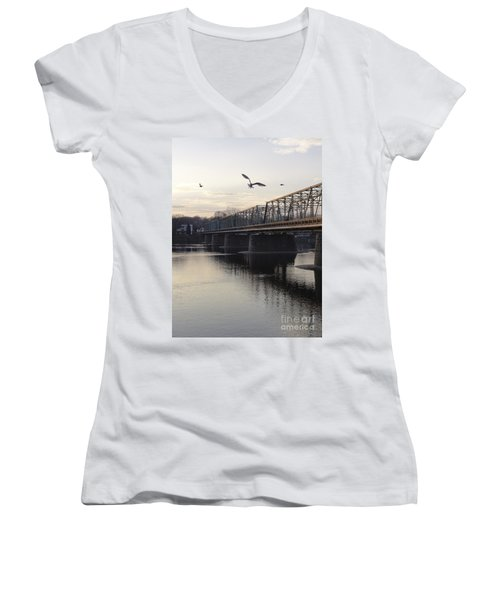 Gulls At The Bridge In January Women's V-Neck (Athletic Fit)