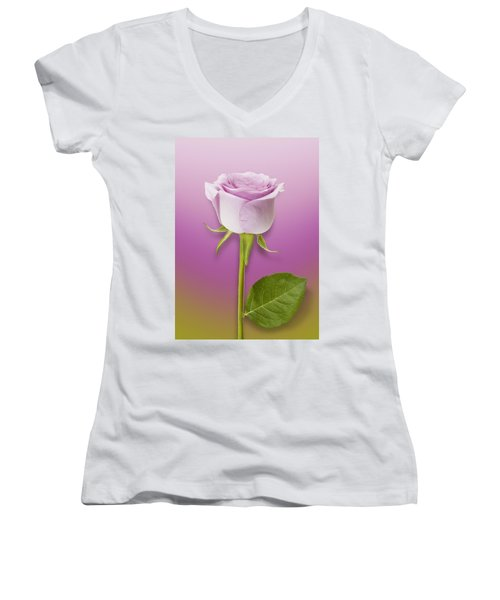 Single Lilac Rose Women's V-Neck (Athletic Fit)