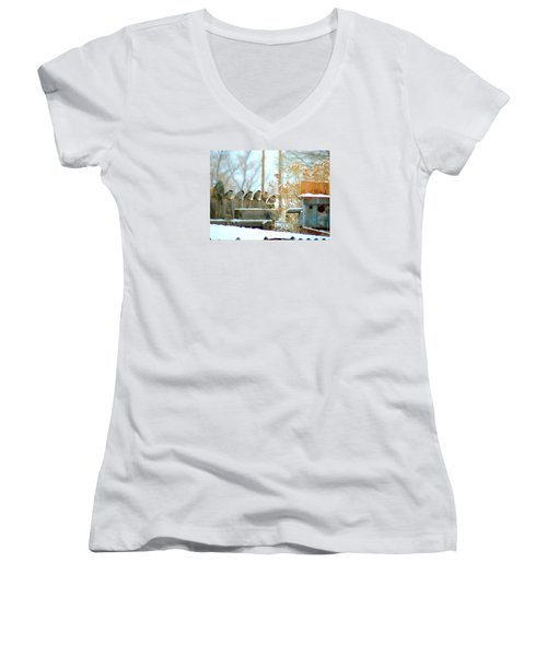 Women's V-Neck T-Shirt (Junior Cut) featuring the photograph 7 Winter Sparrows by Deborah Moen