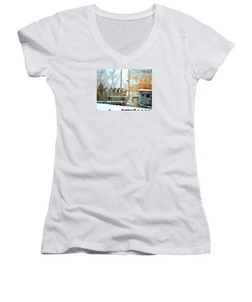 7 Winter Sparrows Women's V-Neck T-Shirt (Junior Cut) by Deborah Moen