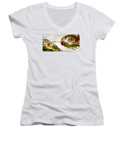 The Creation Of Adam Women's V-Neck
