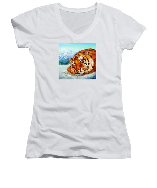 Women's V-Neck T-Shirt (Junior Cut) featuring the painting  Tiger Sleeping In Snow by Bob and Nadine Johnston