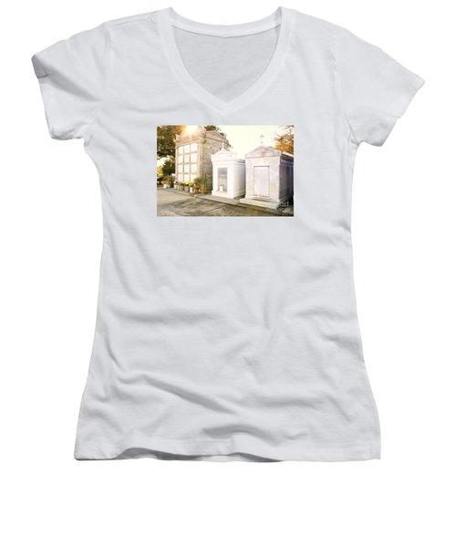 Women's V-Neck T-Shirt (Junior Cut) featuring the photograph   Tombstones  by Erika Weber