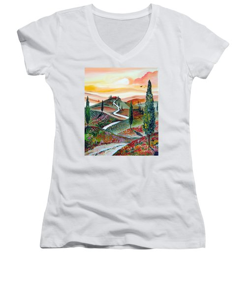 Women's V-Neck T-Shirt (Junior Cut) featuring the painting  Winding Country Road Among The Hills Of Tuscany by Roberto Gagliardi