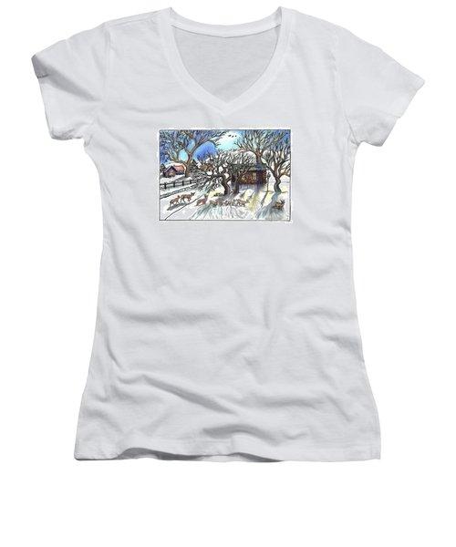 Wyoming Winter Street Scene Women's V-Neck T-Shirt (Junior Cut) by Dawn Senior-Trask