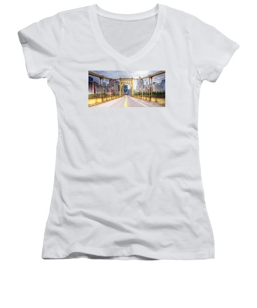 0305  Pittsburgh 10 Women's V-Neck T-Shirt (Junior Cut) by Steve Sturgill