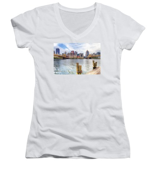 0310 Pittsburgh 3 Women's V-Neck T-Shirt (Junior Cut) by Steve Sturgill