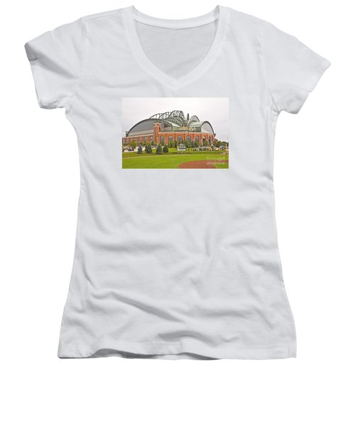 0622 Milwaukee's Miller Park Women's V-Neck T-Shirt (Junior Cut) by Steve Sturgill