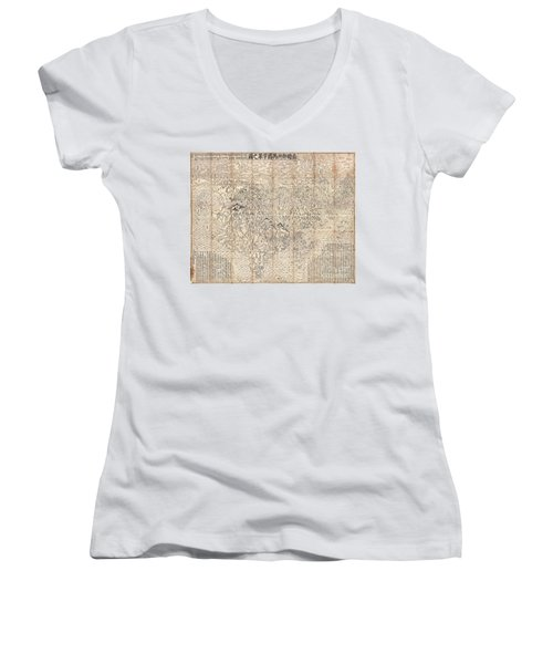 1710 First Japanese Buddhist Map Of The World Showing Europe America And Africa Women's V-Neck T-Shirt (Junior Cut) by Paul Fearn