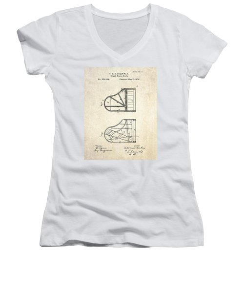 1878 Steinway Grand Piano Forte Patent Art S. 1 Women's V-Neck T-Shirt (Junior Cut) by Gary Bodnar