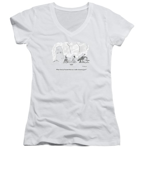 A Caveman And Cavewoman Sit On The Floor Women's V-Neck