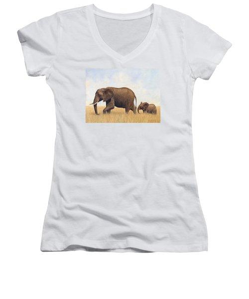 African Elephants Women's V-Neck