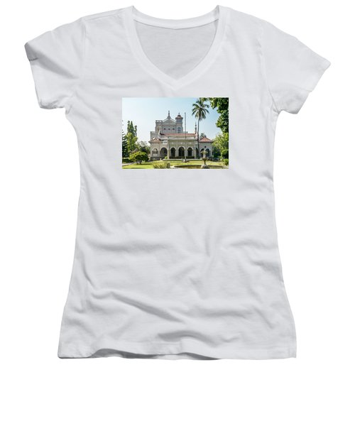 Aga Khan Palace Women's V-Neck T-Shirt (Junior Cut) by Kiran Joshi