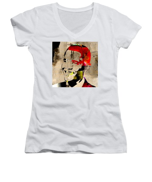 Women's V-Neck T-Shirt (Junior Cut) featuring the photograph Barack Obama by Marvin Blaine
