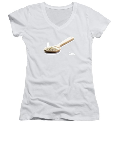 Women's V-Neck T-Shirt (Junior Cut) featuring the photograph Basmati Rice by Lee Avison