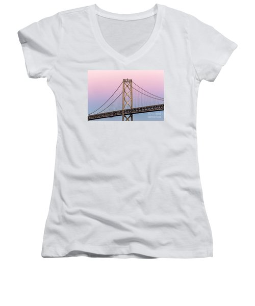 Bay Bridge Lights At Sunset Women's V-Neck (Athletic Fit)