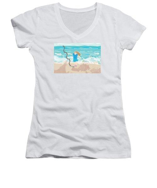 Women's V-Neck T-Shirt (Junior Cut) featuring the digital art Beach Rainbow Girl by Kim Prowse