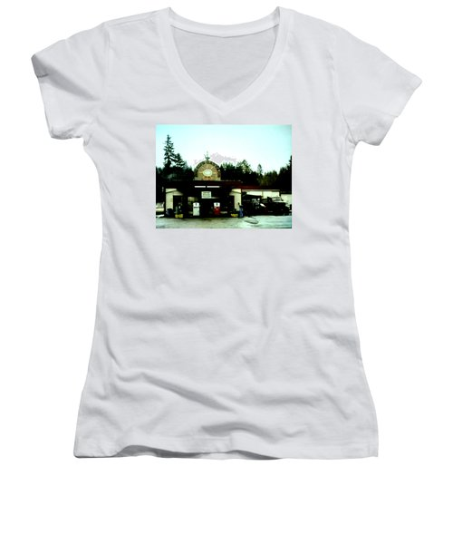 Women's V-Neck T-Shirt (Junior Cut) featuring the painting Big Eds by Luis Ludzska