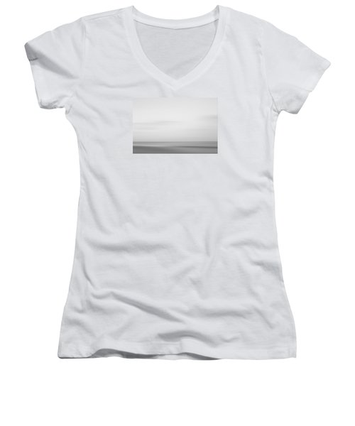 Black And White Abstract Seascape No. 01 Women's V-Neck T-Shirt