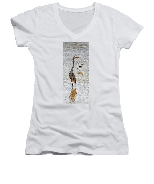 Blue Heron And Stilt Women's V-Neck (Athletic Fit)