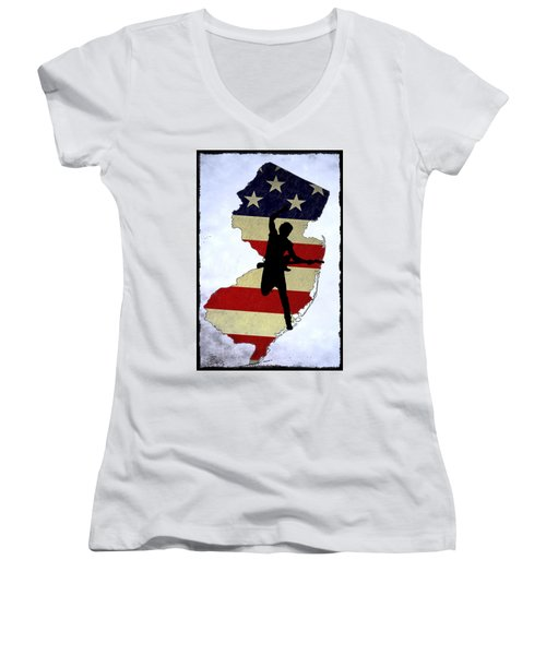 Born In New Jersey Women's V-Neck T-Shirt (Junior Cut) by Bill Cannon